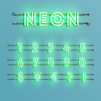 Fonte de néon realista com fios e console, ilustração vetorial
