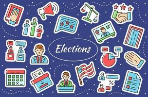 votação - conjunto de adesivos. símbolos em um estilo simples e plano. vetor