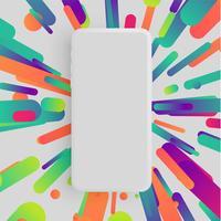 Smartphone fosco realista com fundo colorido, ilustração vetorial