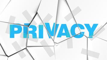 Palavra de 'PRIVACIDADE' em uma superfície branca quebrada, ilustração vetorial