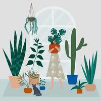 senhora louca da planta no jardim da casa. menina abraça um vaso com planta vetor