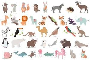 grande conjunto de animais isolado no fundo branco. vetor