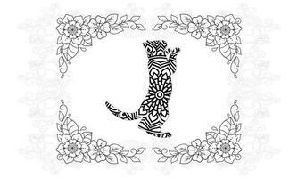 mandala de gato. elementos decorativos vintage. padrão oriental, vetor. vetor