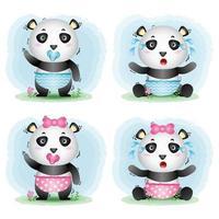 coleção bebê panda fofo no estilo infantil vetor