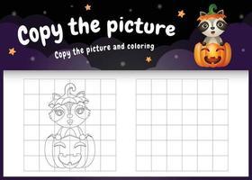 copie o jogo de crianças e a página para colorir com um guaxinim fofo vetor