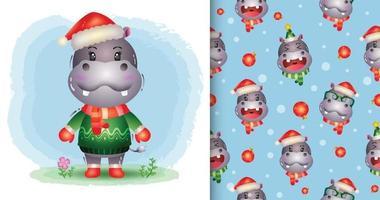 um hipopótamo fofo natal e padrão sem emenda vetor