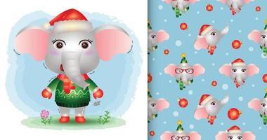 um elefante fofo natal e padrão sem emenda vetor
