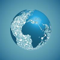 Globo do mundo sobre um fundo azul, ilustração vetorial vetor