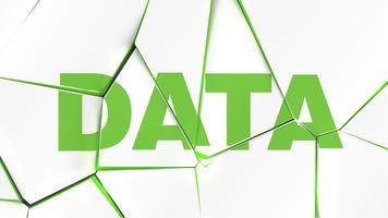 Palavra de 'dados' em uma superfície branca quebrada, ilustração vetorial