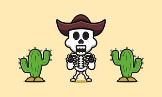 Ilustração do ícone dos desenhos animados de esqueleto de cowboy fofo vetor