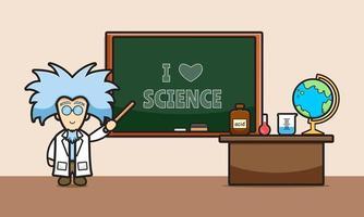 Cientista fofo na ilustração do ícone dos desenhos animados em sala de aula vetor