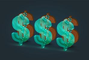 Madeira detalhada alta e caracteres de dólar de vidro, ilustração vetorial vetor
