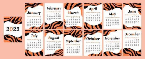 calendário 2022. desenho abstrato de tigre. semana começa no domingo vetor