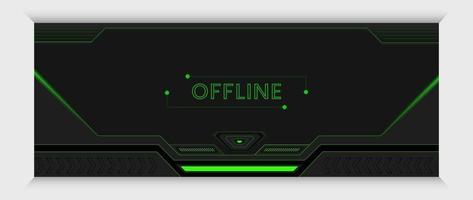 banner futurista de jogo verde e preto e modelo de design de capa vetor