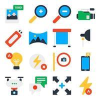 pacote de ícones planos de ferramentas fotográficas vetor