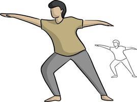 homem ioga posa ilustração vetorial desenho doodle vetor