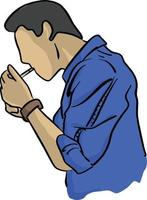homem acendendo desenho de ilustração vetorial de cigarro vetor
