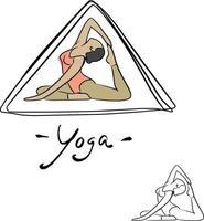 mulher poses de ioga em ilustração vetorial de triângulo vetor
