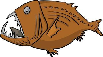 ilustração vetorial de peixes de alto mar desenho doodle desenhado à mão vetor