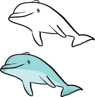 desenho de ilustração vetorial de golfinho sorridente azul vetor
