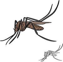 desenho de ilustração vetorial mosquito marrom vetor