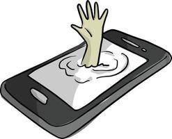 mão de homem se afogando em ilustração vetorial de telefone celular vetor