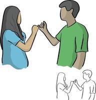 homem e mulher com a promessa do dedo mínimo segurando a mão vetor