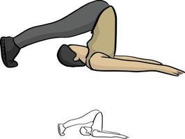 mulher fazendo ioga ilustração vetorial desenho doodle vetor
