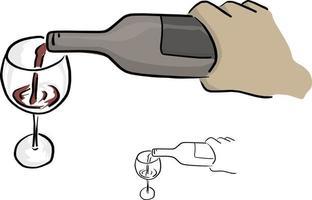 mão de close-up servindo vinho em vetor de vidro