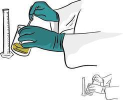 close-up de mãos de químico trabalhando com equipamentos vetor