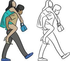 mulher andando nas costas de seu namorado vetor