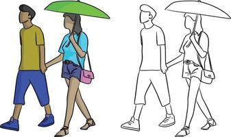 homem caminhando com sua amante com um guarda-chuva verde vetor