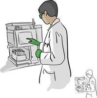 química feminina usando computador em vetor de laboratório