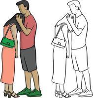 homem consolando seu amante triste desenho de ilustração vetorial vetor