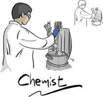 química feminina trabalhando com equipamentos em laboratório vetor
