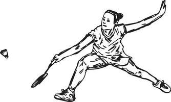 jogador profissional de badminton dando um tiro certeiro - ilustração vetorial vetor