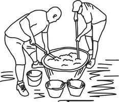 dois trabalhadores fazendo mistura de cimento no canteiro de obras vetor