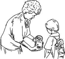 mulher idosa dando um presente a uma garota pobre - ilustração vetorial vetor