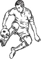 jogador de futebol chutando bola - mão de desenho de ilustração vetorial vetor