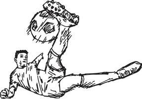 chute de vôlei de futebol - desenho de ilustração vetorial desenhado à mão vetor