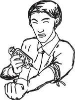 empresário homem asiático viciado em internet e redes sociais vetor