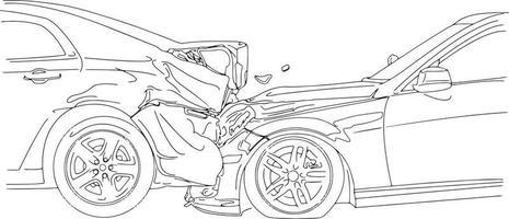 acidente de carro envolvendo dois carros - ilustração vetorial vetor