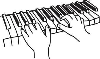 closeup mãos tocando teclado ou piano - vetor