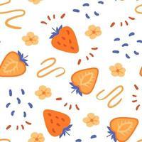 ingênuo laranja morango padrão sem emenda. linhas desenhadas à mão e rabiscos vetor