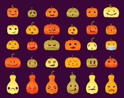 conjunto de diferentes expressões de faces de jack-o-lantern. abóbora de halloween vetor