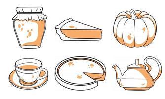 conjunto de outono. abóbora, chá quente, chaleira, caneca, torta de abóbora, geléia. vetor
