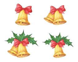 conjunto de sinos de Natal com arcos e azevinho. ilustração em aquarela. vetor