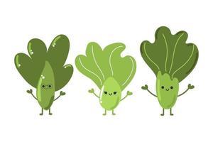 conjunto de salada choy bok fofa, repolho, vegetais deliciosos. vetor