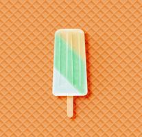 Barra de sorvete realista com waffle, ilustração vetorial