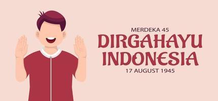 cartão de comemoração do dia da independência da Indonésia. vetor